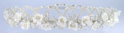 Charming Crown of Lustrous Pearls, Satin Flowers, and Faux Crystal Bead for Communion, Flower Girl, Mini-Bride and Other Special Occasions #8DC8iv