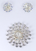 Sparkling Aurora Borealis Rhinestone Crystal Starburst Brooch and Earrings for Wedding, Prom, Quinceañera or Other Special Events #D1H3ab