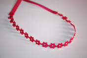 Flower Wrap Headband with. Crystals, Hot Pink