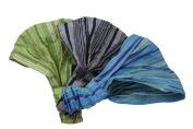 3 Fun Bohemian Soft Headbands - Blue, Green, Grey