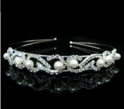 RayHot Gorgeous Clear Crystals And Imitation Pearls Bridal Tiara/ Headpiece/ Headband FG10014