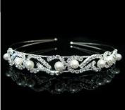 RayHot Gorgeous Clear Crystals And Imitation Pearls Bridal Tiara/ Headpiece/ Headband FG10014