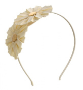 Double Grossgrain Flower Headband Hairband for Girls Teens or Womens