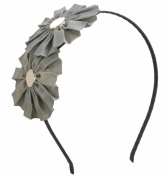 Double Grossgrain Flower Headband Hairband for Girls Teens or Womens