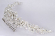 "Charming hand-wired bridal comb of pearls in silver ""clam shells"", leaves of bugle beads, and flowers of crystal. rhinestone and frosted beads for Wedding, Prom, Quinceañera or Other Special Events #82E8wh"