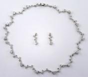 Delicate Austrian Cubic Zirconia CZ Necklace & Earrings Set #D0CF