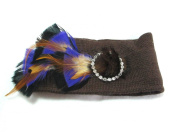 Brown Ear Warmer Winter Knit Headband with Feathers and Fur