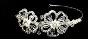iPhashon Silver Wedding Pearl Design Floral Crystal Tiara Headpiece H808