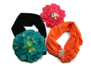 M Style Lab Junior Women's 3 Pc Set; Flower Head Wrap, Jewel Head Wrap, Flower Hair Clip