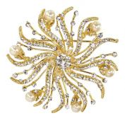 Elegant Sparkling Austrian Rhinestone Crystal and Pearl Bridal Brooch in Light Gold for Wedding, Prom, Quinceañera or Other Special Events #D38Ggd