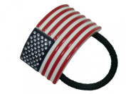 Charles J. Wahba American Flag Ponytail Holder. Crystals