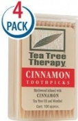 Tea Tree Therapy Toothpicks Cinnamon -- 100 Toothpicks Each / Pack of 4