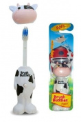 BrushBuddies Poppin 00304-72 Milky Wayne (Cow) Fun Animal Character Manual Toothbrush for Kids or Children