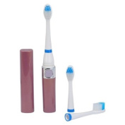Electric Power Sonic Vibration Toothbrush with 2 Toothbrush Heads - Brown