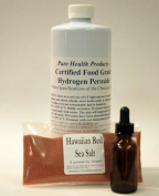 I Quart certified 17.5% Food Grade Hydrogen Peroxide (32 ounces - double for less) + dropper bottle & 120mls RARE Hawaiian Red Sea salt - from Tibet!; advised by One Minute Cure. Shipped fast.