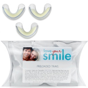 'THE ON-THE-GO DISPOSABLE TRAYS'. Teeth Whitening gel conveniently preloaded into tray on a foam strip. Great for quick touch-ups. Love Your Smile
