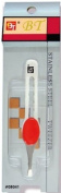 Beauty Town Stainless Steel Straight Tip Tweezers with Red Comfort Grip