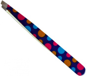 High Quality Stainless Steel Slant Tweezer, Polka Dots Print - Used By Professionals