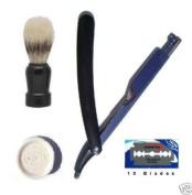 Barber Black Razor, Brush, Soap & 10 Blades Shaving Set