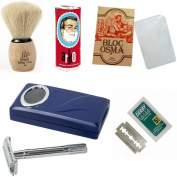 Shaving Set with Shaving Factory Double Edge Safety Razor, Alum Bloc Osma, Shaving Factory XSmall Shaving Brush, Arko Soap and 5 Derby Extra Blades.