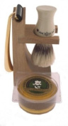 Colonel Conk Model 237 4-Piece Hardwood Stand Shave Set with Deluxe Boar Brush, Gold Tone Razor and Soap
