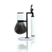 Axwell White Three Piece Shaving Set with Compatible Mach 3 Razor,Badger Brush and Stand