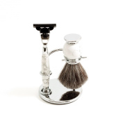"Shaving Shave Set White and Grey Faux Marble Ceramic ""Mach 7.6cm Compatible Razor Badger Brush and Stand"