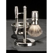 Four Piece Shaving Shave Set with 'Mach 3' Razor, Badger Brush, Soap Dish On Chrome Plated Stand