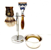 5 Piece Mens Shaving Gift Set - Fusion Razor + Silvertip Badger Brush + Bowl + Soap