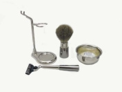 Luxury Shave Set Silver/Platinum made in Italy BB15