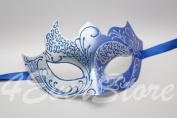 Mystic Royal Swan & Blue Italian Venetian Masquerade Mardi Gras Mask with Glitter Design