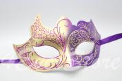 Genuine Purple & Gold Italian Venetian Masquerade Mardi Gras Mask with Glitter Design
