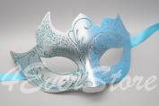 Tiffany Blue & Silver Italian Venetian Masquerade Mardi Gras Mask with Glitter Design