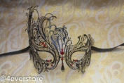 Mysterious Sexy Black Laser Cut Venetian Mardi Gras Masquerade Mask with Diamonds