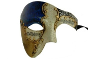 Gold Lining Musical Blue Venetian Half Masquerade Mask Phantom Design
