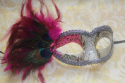 Tiffany Blue Musical Masquerade Mask - Peacock Feather Mask Venetian Details -Vibrant Pink