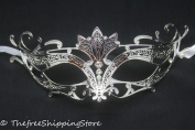 Majestic Silver Metal Laser Cut Venetian Masquerade Mask with Rhinestones