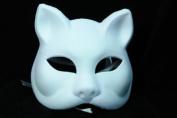 NEW Laser Cut Full Facial Cover Cat Design Halloween Mask - White