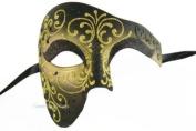 Venetian Gold Half Mask Masquerade Mardi Gras 'Phantom of the Opera' Design