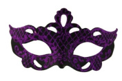 Classic Vintage Swan Venetian Style Laser Cut Masquerade Mask for Mardi Gras or Halloween - Decorated with Purple Glitter