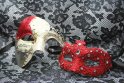 Venetian Phantom Couple Vintage Red Masquerade Carnival Costume Mask