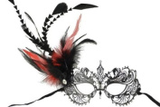 NEW Classic Venetian Intricate Design Swan Inspired Laser Cut Masquerade Mask - Elegantly Detailed and Decorated with Red and Black Feathers