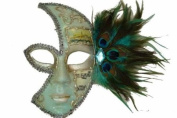 Classic Vintage Venetian Female Phantom Half Mask Design Laser Cut Masquerade Mask for Mardi Gras Events or Halloween - Sky Blue w/ Decorative Teal Feathers