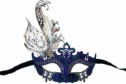 Classic Vintage Venetian Royal Swan Princess Inspired Design Laser Cut Masquerade Mask - Finely Decorated and Intricately Detailed - Purple and Green w/ Gems and Side Feather