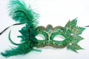 Feathers and Leaves Collection Masquerade Mask - Leaf Green