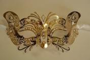 Laser Cut Venetian Gold Foxy Design Masquerade Mask For Mardi Gras or Halloween