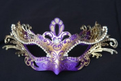 Laser Cut Venetian Royal Swan Princess Design Masquerade Mask - Intricately Decorated and Detailed - Purple and Gold