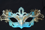 Laser Cut Venetian Royal Swan Princess Design Masquerade Mask - Intricately Decorated and Detailed - Sky Blue and Gold