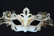 Laser Cut Venetian Royal Swan Princess Design Masquerade Mask - Intricately Decorated and Detailed - White and Gold