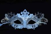 Laser Cut Venetian Royal Swan Princess Design Masquerade Mask - Intricately Decorated and Detailed - White and Silver